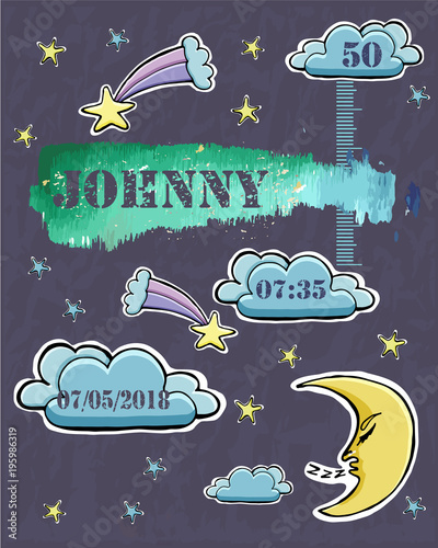 54a13b582 Baby shower card. Baby newborn metric for boy. Crescent