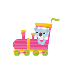 Funny blue koala with pink cheeks riding on colorful train. Cartoon animal character. Flat vector design for notebook cover, t-shirt print or children s room decor
