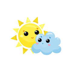 Cartoon yellow sun and blue cloud with kawaii faces. Cute weather and sky element. Flat vector design for mobile app, sticker, children t-shirt print