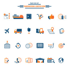 Logistics service icon set. Fast delivery and quality service transportation. Shipping vector icons for logistic company.