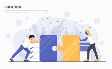 Flat Modern Concept Illustration - Solution