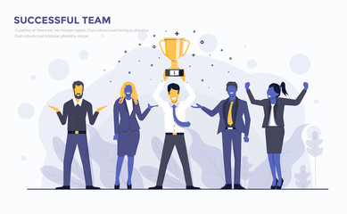 Flat Modern Concept Illustration - Successful Team