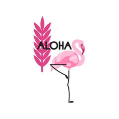 "Flamingo label and tropical leaf. The inscription ""Aloha"". Vector illustration."