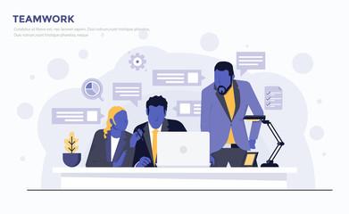 Flat Modern Concept Illustration - Teamwork