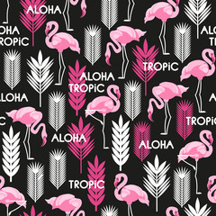Seamless pattern with birds of pink flamingos and leaves of tropical plants. White, black, pink. Vector illustration.