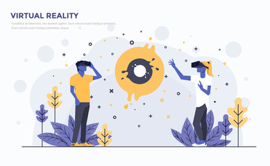 Flat Modern Concept Illustration - Virtual Reality