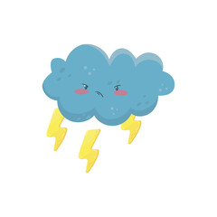Little angry cloud with yellow lightning bolts. Funny weather and sky element. Flat vector design for mobile game, print, sticker or children book