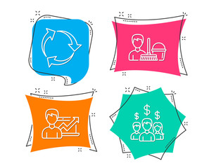 Set of Recycle, Success business and Cleaning service icons. Salary employees sign. Recycling waste, Growth chart, Bucket with mop. People earnings.  Flat geometric colored tags. Vivid banners