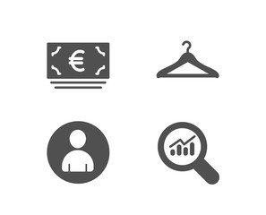 Set of Euro currency, Avatar and Cloakroom icons. Data analysis sign. Eur banking, User profile, Hanger wardrobe. Magnifying glass.  Quality design elements. Classic style. Vector