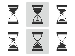 Hourglass icons set.  Vector illustration. Different positions of sandglass.