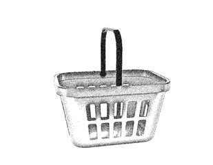 Shopping basket. Isolated on white background. Vector illustration.