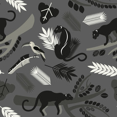 Seamless pattern with tropical leaves, branches of trees, jaguars and toucans. Flat style. Vector illustration.