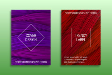Cover templates with volumetric colored curls. Trendy brochure or packaging backgrounds in purple and red shades.