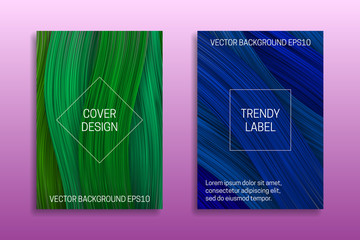 Cover templates with volumetric colored curls. Trendy brochure or packaging backgrounds in green and blue shades.