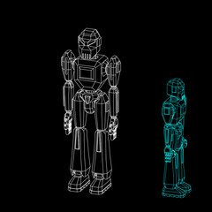 Robot character. Isolated on black background. Vector outline illustration.