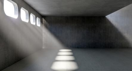 concrete indoor with windows