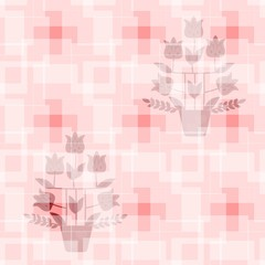 Seamless geometric pattern with silhouette of tulip trees in flowerpots. Print for fabric, wallpaper, fragment of curtain in vector.