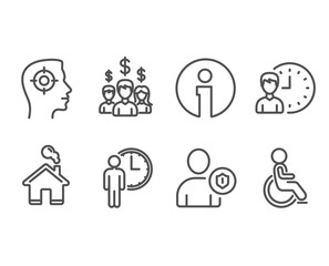Set of Recruitment, Security and Salary employees icons. Waiting, Working hours and Disabled signs. Headhunter aim, Person protection, People earnings. Vector