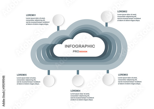 Abstract infographic elements with flat art clouds  Charts for