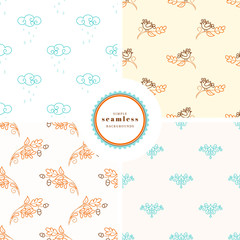 Vector set of four backgrounds with seamless patterns. Birds, rainy clouds and oak branch with acorns.