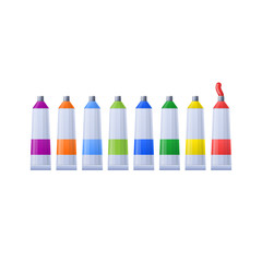 Set multi-colored tubes with paints for drawing paintings and images.