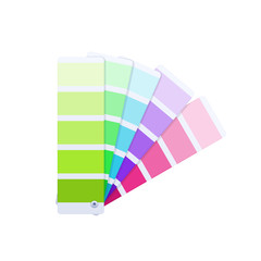 Modern color guide with palette of paint samples, creative work.