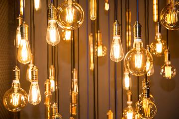 Lighting decor. Old vintage fashion light bulbs
