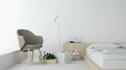 Bedroom Interior Japanese minimal style -3D rendering decoration
