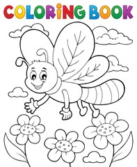 Coloring book dragonfly theme 1