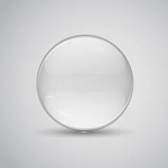 Glass lens vector illustration. Transparent flat glass.