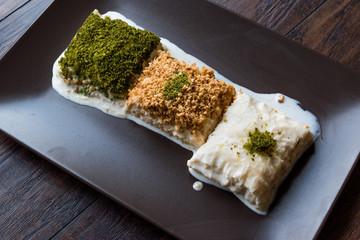 Turkish Milk Dessert Sutlava made with Gullac and Dairy Baklava Dough