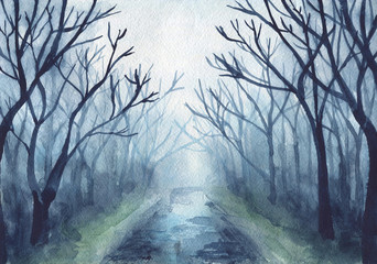Painted dark autumn forest with road and trees. Hand drawn watercolor illustration