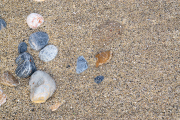 Gravel and sand on the beach