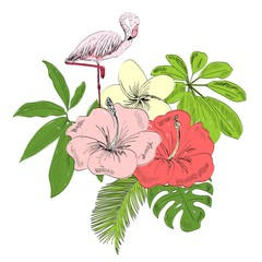 Tropical vector illustration with flamingo and flowers.