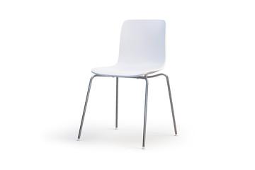 Modern white chair. Chrome base. 3d render