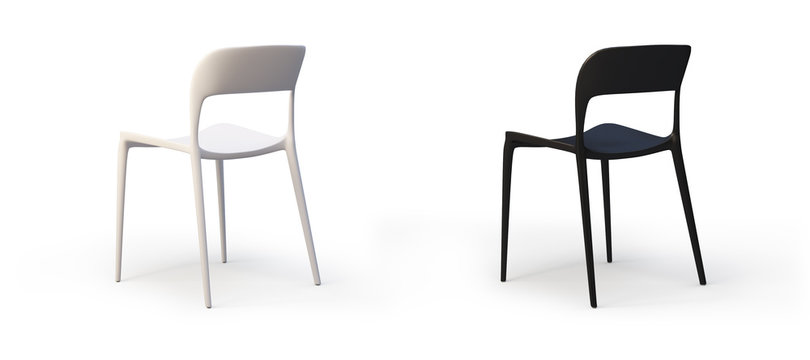 Modern white and black chairs. 3d render