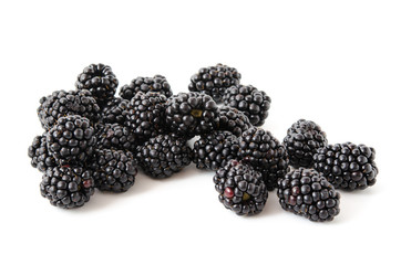 Blackberries with a leaf