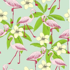 Tropical seamless vector pattern with flamingo and flowers.
