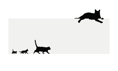Frame with the black cats vector illustrations 黒猫のフレームのベクター素材
