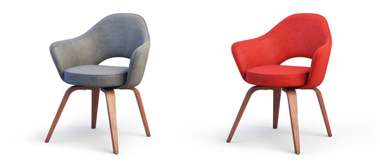 Modern gray and red armchairs. 3d render