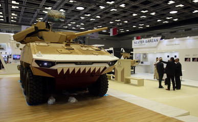 Military vehicle is seen during Doha International Maritime Defence Exhibition, in Doha