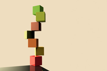 Color cubes representing the concept of equilibrium