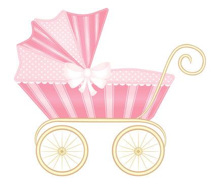 Pink vintage baby pram carriage vector