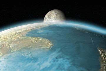 3D rendering of the moon rising over Earth horizon
