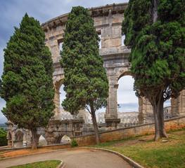 Fotomurales - ancient arena in Pula, Croatia