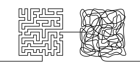 Continuous line drawing a chaos and order concept, chaos theory metaphor minimalist single line vector illustration