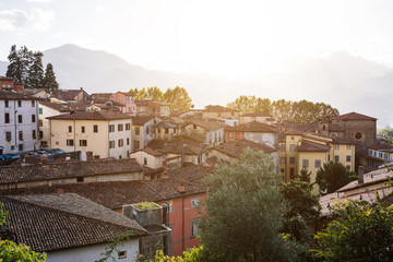 Scenic townscape of ancient medieval italian city Barga, Tuscany, Italy. Beautiful travel destination postcard.