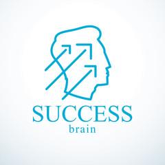 Successful man vector logo or icon design. Man head profile with arrows moving up. Businessman or entrepreneur concept.