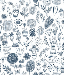 Seamless pattern with hand drawn floral nature motif and spring elements