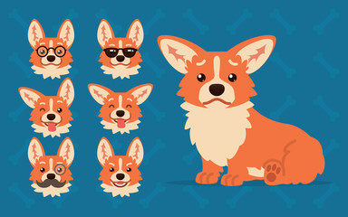 Cute Welsh Corgi constructor. Vector illustration of Corgi dog sitting and its head shows different emotions in flat cartoon style on blue background. Smiley. Element for your design. Emoticon.